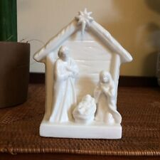 Vintage Irish CBC White Ceramic Nativity Scene Mary Jesus In A Manger Joseph