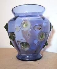 vintage hand blown purple / blue green art glass vase hobnail appliqué