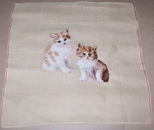 """Two Cats / Kittens"" Preworked Penelope Needlepoint Canvas"