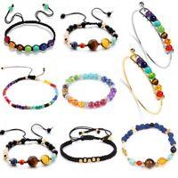 Men Women 7 Chakra The Eight Planets Lava Stone Beads Bracelet Bangle Jewellery