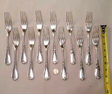 """ERCUIS DUBARRY FRENCH SILVER PLATE SET OF 12 LARGE FORKS 8"""""""