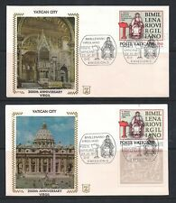Vatican City Silk Cachet Fdc Set Of 2 Scott #685 - 686 2000Th Anniversary Virgil