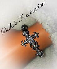 Crystal Clear Rhinestone Cross Christian Bracelet Black Beads Stretch Elastic