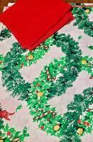 "Vintage Christmas Wreath Flower Fringe HANDMADE 62"" x 84"" Tablecloth Napkins"