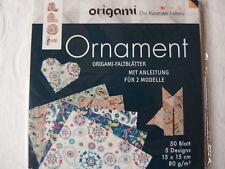Topp Origami Ornament - 50 Faltblätter - sortiert in 5 Designs - 15 x 15 cm