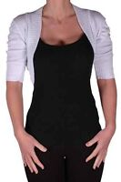 Womens Plain Short Sleeve Cropped Knitted Lurex Casual Cardigan Ladies Shrugs
