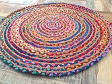 Fair Trade 60cm Round Braided Rag Rug Cotton Jute Multi Coloured Chindi Mat