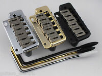 WILKINSON WVP2 TREMOLO BRIDGE, Stainless Steel Saddles in Chrome, Black + Gold