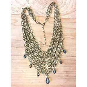 Chainmail Bib Necklace with Gold Crystals