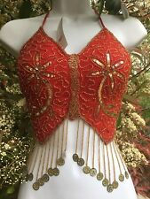 New_Gorgeous_Embroidered Belly Dance Beaded Top_Bra_Red with Golden Coins