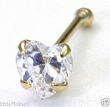 3mm heart clear CZ 9k SOLID GOLD Nose stud/ring/bone+10 FREE Nose Studs w/ BIN!