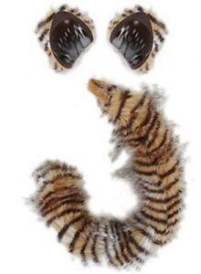 Cat Costume Kit Ears Tail Tiger Lynx Striped Adult Kids Child Furry Black Orange