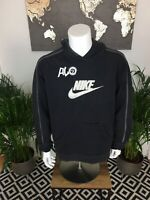 Nike Embroidered Spell Out Centre Swoosh Hoodie Retro Y2K Black XL