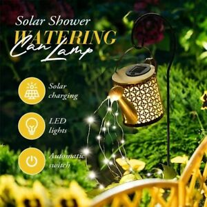 Solar Powered LED String Watering Can Outdoor Gardening Art Lamp Decor Hollow