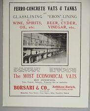 Ferro-Concrete Wine & Spirits Vats & Tanks PRINT AD - 1928 ~~ Borsari