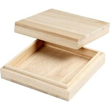 Mini Wooden Box with Lid - Square Slim Plain Small Craft Decorate Present Gift