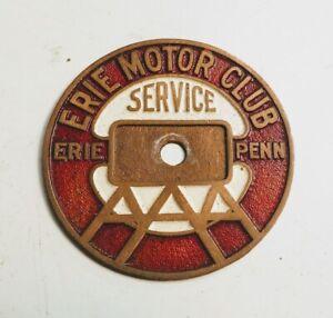 1920s VETERAN AAA Erie Motor Club CAR BADGE                     10