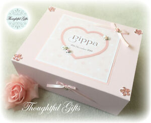 Personalised White/ Pink New Baby Girls Keepsake Memory Box Christening Gift