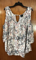 Plus Size Cliche' Couture Women's Paisley Print Top With Keyhole-NWT-Size 3X