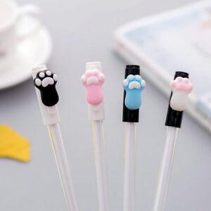 8pcs Kawaii Cat Paws Black Gel Ink Roller Ball Point Pen Korean School Kids Pens