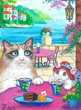 1.5x2 Dollhouse Miniature Print Of Painting Ryta 1:12 Scale Cat Ragdoll Tea Art