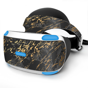 Skin Wrap for Sony Playstation PSVR Headset gold marble dark gray background