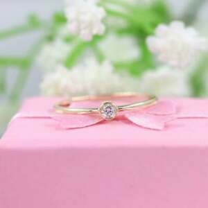 Round Cut 0.08 Ct Natural Diamond 14K Yellow Gold Engagement Ring US Size 6