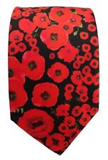 Red Poppy Silk Tie 2, Remembrance, Armistice Day, British Army Royal Navy RAF