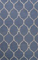 Trellis Blue/ Ivory Modern Oriental Area Rug Hand-tufted Wool Kitchen Carpet 5x8