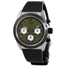 Tudor Fastrider Chrono Green Dial Black Rubber Mens Watch 42010N-GRRS