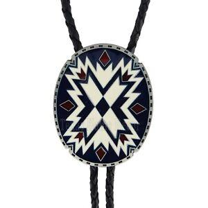 "Southwestern Bolo Tie Aztec Geometric 38"" Adjustable Leather Cord Enamel Inlay"