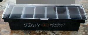 Tito's Vodka Condiment / garnish tray / bar Caddy compartments