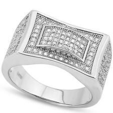 Elegant Men's Ring With Cubic Zirconia in 925 Sterling Silver Size 9.5
