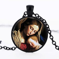 Mother Mary and baby Jesus dome Black Cabochon Glass Necklace chain Pendant