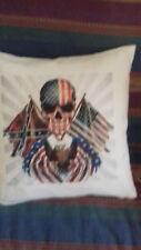coussins 40 sur 40 ct  dessin    iete de mort  avec drapeau americain