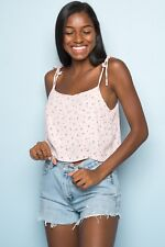 Brandy Melville pink red floral crop self tie dena cotton tank top NWT sz S/M