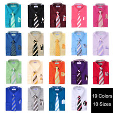 Toddlers Kids Boys Long Sleeve Dress Shirt Set with Tie & Hanky- Berlioni Italy