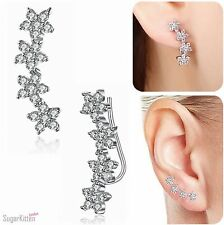 Solid 925 Sterling Silver Cute CZ Cherry Flowers Cuff Climber Crawler Earrings