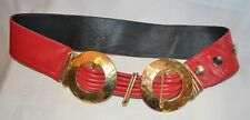 Unbranded Vintage 80s Red Leather Gold Metal Accent Belt Xs 32