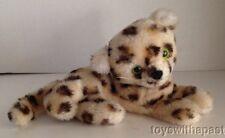 """1978 Dakin LEOPARD Cheetah 7"""" Plush Green Eyes Ground Nutshells Vintage Cat Toy"""