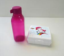 TUPPERWARE EcoEasy Quader Trinkflasche 500ml + Lunchbox Einhorn, PINK/WEISS
