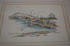 "Vintage, Signed by the Artist Elyse Wasile ""Bridge to Paradise Is."", Bahamas,"