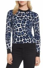 Michael Kors Leopard Print Sweater Top Royal / Black Size Medium