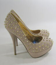 "new Nude Gold spikes 5.5""high heel round toe  sexy shoes by shiekh Size 6  p"