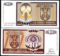 BOSNIA HERZEGOVINA 10 DINARA 1992 AA PREFIX P 133 UNC LOT 5 PCS