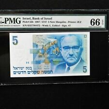 1987 Israel 5 New Sheqalim, Pick # 52b, Pmg 66 Epq Gem Unc.