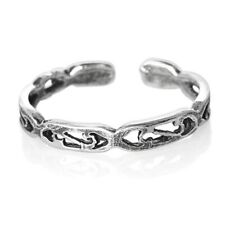 Silver Toe Ring 925 Sterling Midi Half Finger One sz Open Adjustable Carved S