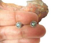 Round  LABRADORITE   Sterling  Silver  925  Gemstone  STUD  Earrings  -  5 mm