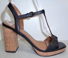 Coach Size 9.5 M BRIANNA Black Leather Heels Sandals New Womens Shoes