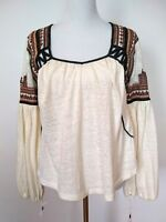 Free People Womens Cream Embroidered Bell Sleeve Slit Back Top Size SP